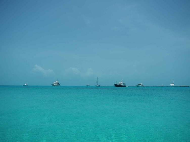 Mouillage de Big Major's Spot dans les Exumas, aux Bahamas.