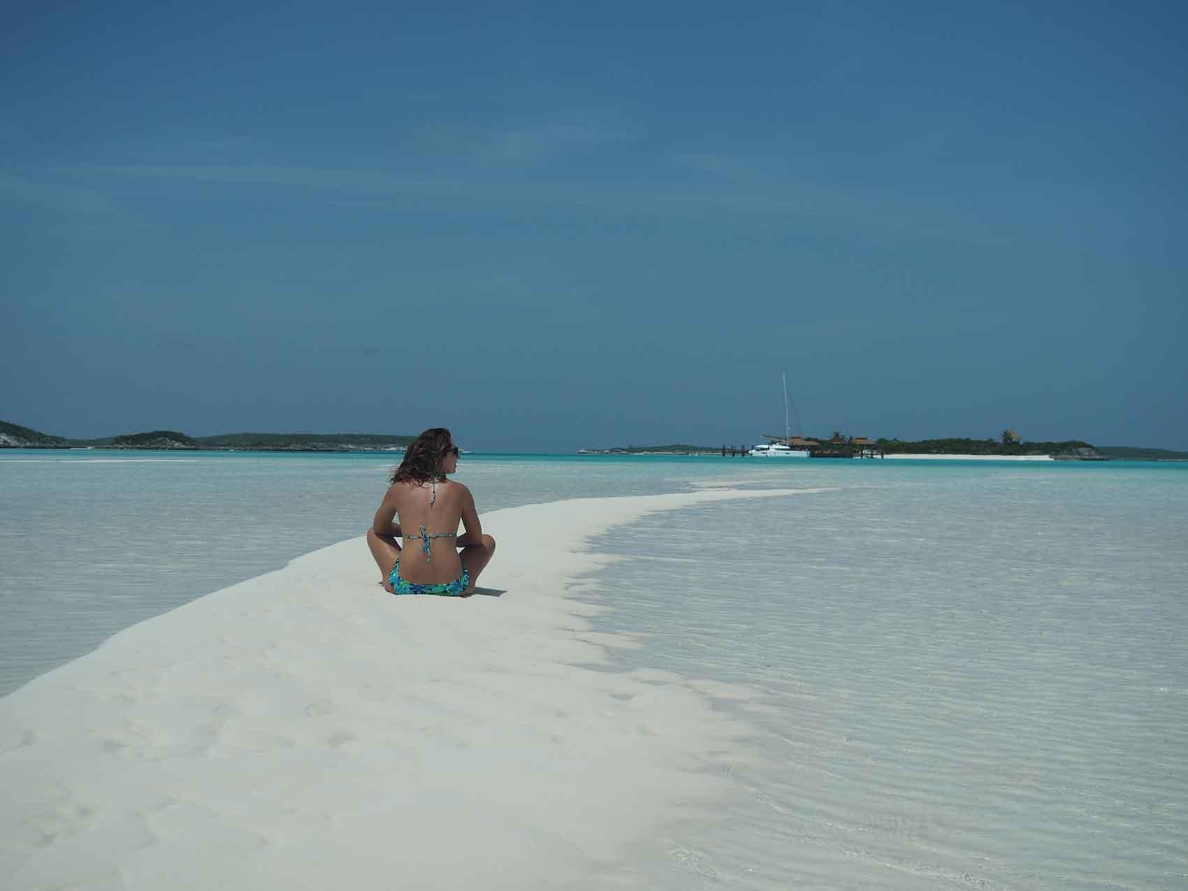 Banc de sable dans Pipe Creek aux Exumas, Bahamas.