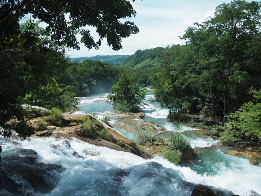 Enchaînement des bassins en escalier aux cascades d'Agua Azul, à Palenque.