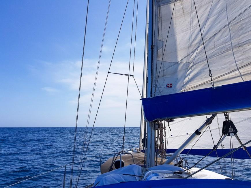 Avancée sous un vent doux pendant la traversée du Pacifique.
