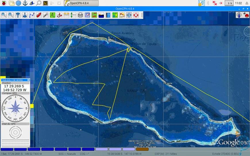 Vue satellite de nos navigations dans le lagon de Rangiroa.