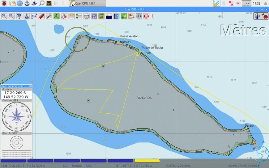 Vue OpenCPN de l'atoll de Rangiroa.