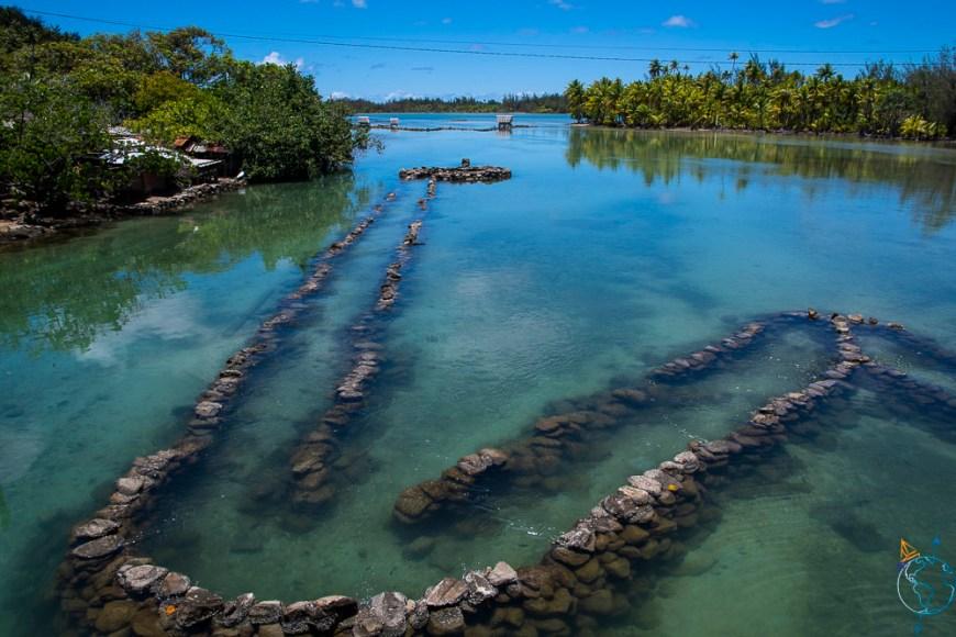 Parc à poissons au nord de l'île de Huahine.