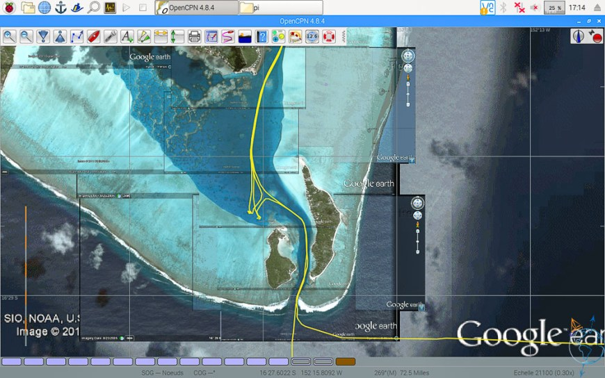 Vue satellite de la passe de Maupiti.