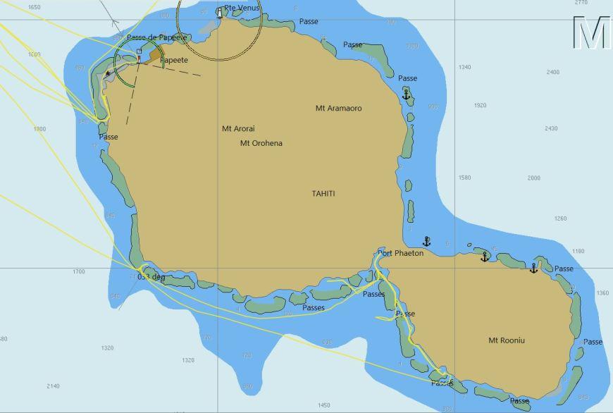 Carte de l'île de Tahiti sous OpenCPN.
