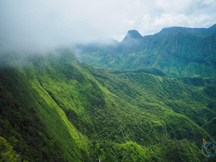 Randonnée à l'ouest de Tahiti et aperçu de la végétation luxuriante de l'île.
