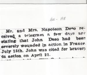Plattsburgh Sentinel august 1918 John Deyo