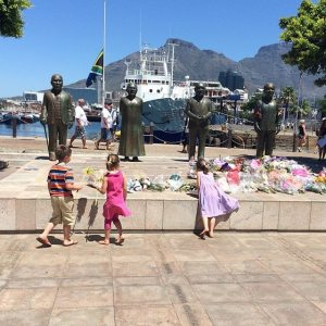 Dropping off flowers for Madiba this past Sunday in the Waterfront.