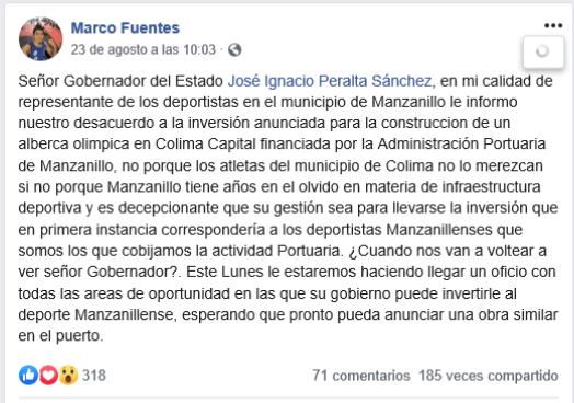 Lamentan que gobernador aplique 17.5 millones para alberca olímpica en colima y olvide a Manzanillo