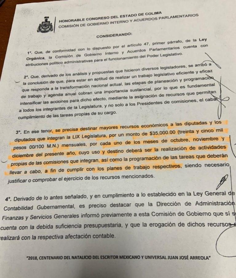 Diputados de MORENA en Colima se aprobaron 2 millones 625 mil pesos extras
