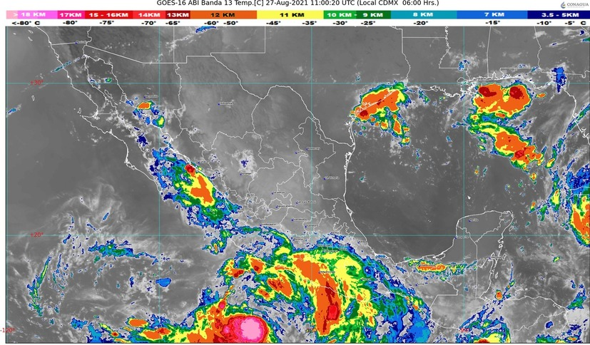 Efectos de Tormenta Tropical Nora se percibirán en Colima