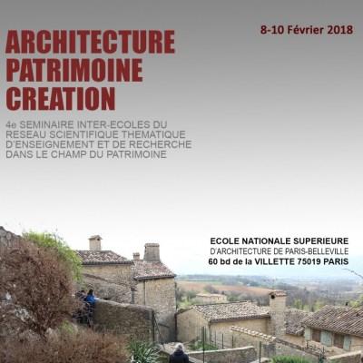 Participation au 4ème séminaire inter-écoles Architecture-Patrimoine-Création