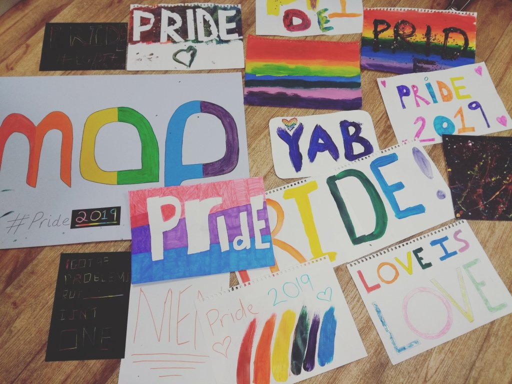 Pride signs created by Great Yarmouth YAB.