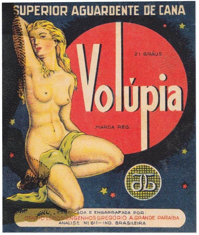 Rótulo da Cachaça Volúpia - Figuras femininas em rótulos de cachaça
