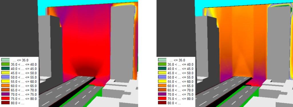 Exemplo de redução sonora analisando a propagação sonora na vertical  (na esquerda: situação de trânsito atual; na direita: situação na ausência do tráfego do Minhocão).