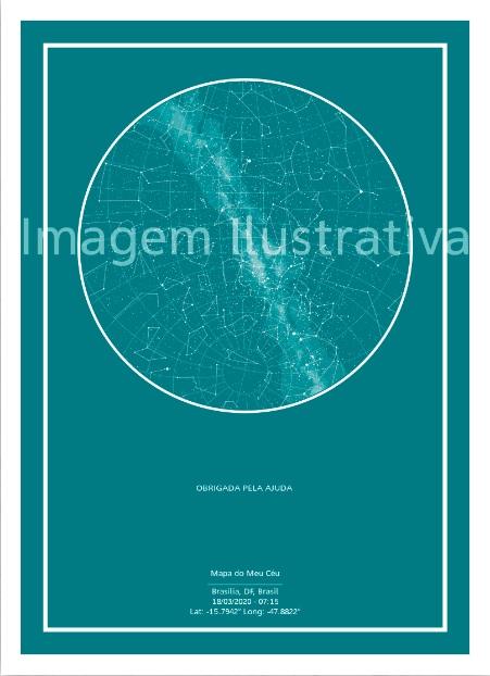 imagem do poster verde do mapa do meu céu personalizado com frase de gratidão