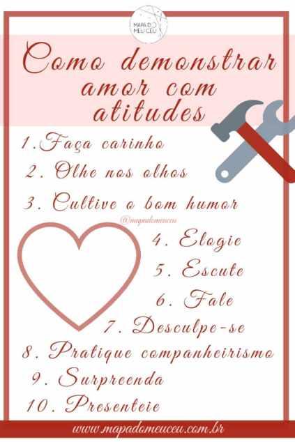 tabela de como demonstrar amor em 10 passos