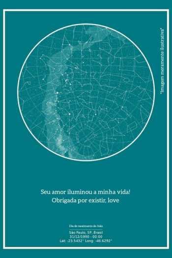 mapa do meu ceu versao verde com frase de amor