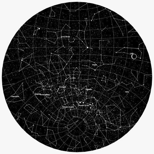 mapa do meu céu com nome das constelações