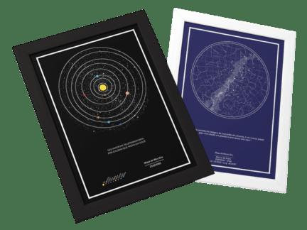 mapa dos planetas e mapa das estrelas juntos