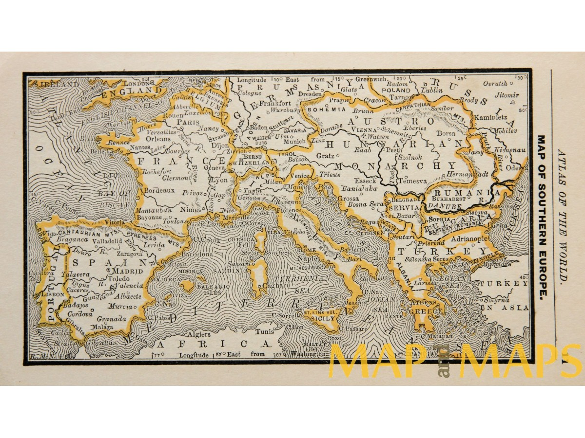 Map Of Southern Europe Origin Atlas Of The World