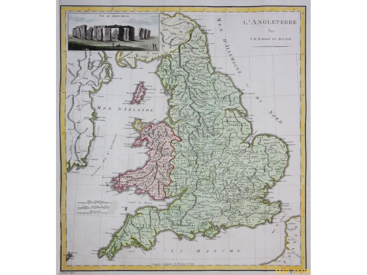 British Isles Authentic Antique Map and Maps  mapandmaps  from the past  England Wales Antique map L ANGLETERRE PAR J D  BARBIE DU BOCAGE 1783   Loading zoom