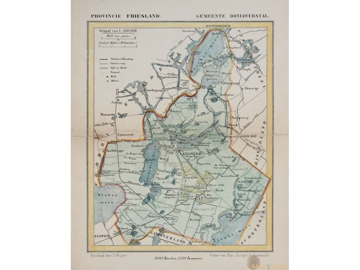 Doniawerstal Langweer Old map J  Kuyper   Mapandmaps com Doniawerstal Langweer Friesland antique map Holland by Jacob Kuyper Kuijper  1867  Loading zoom