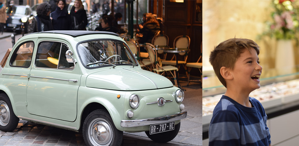 Photos of a small car and a boy smiling in the Marais District of Paris.