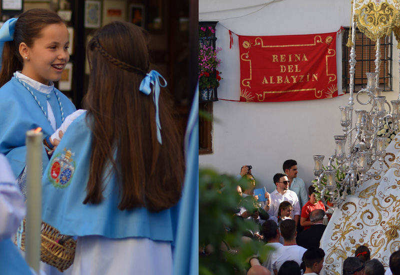 Images of Granada Spain during Semana Santa including two girls and a procession thru the Albaicin