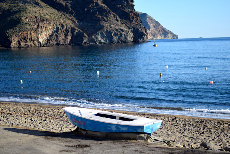 Image of a boat on the beach in Cabo de Gata Natural Park in Spain