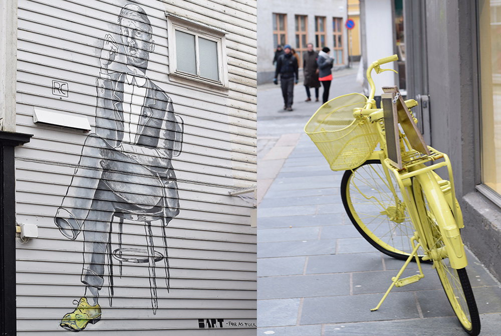 Photo of street art and a yellow bicycle in Bergen, Norway