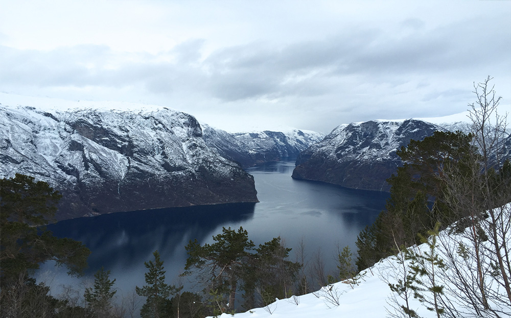 A photo of the Aurlansfjord above Flam, Norway in winter