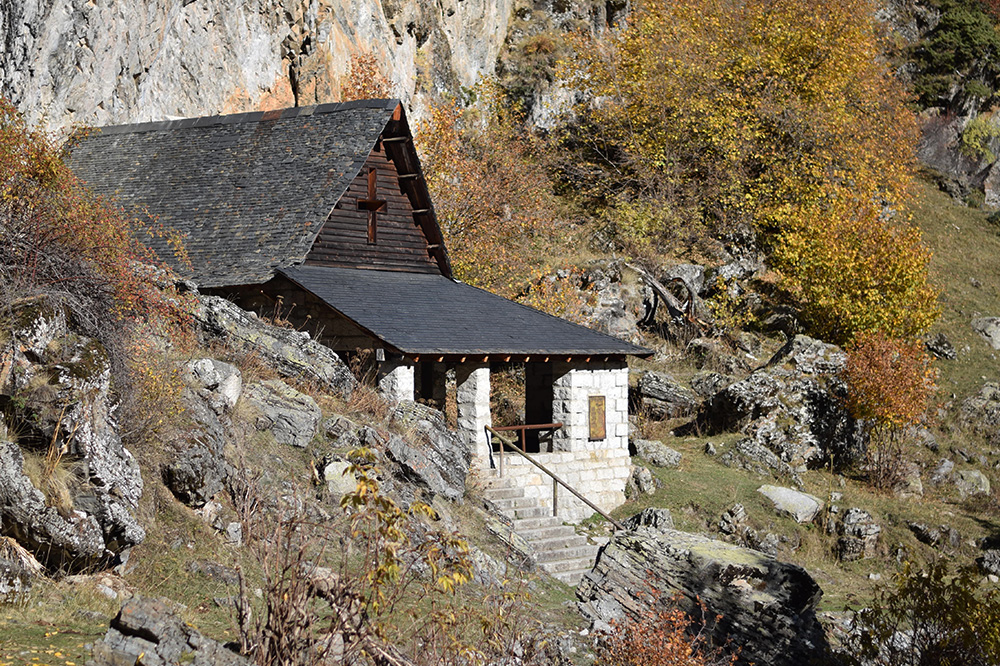Photo of a small stone house in the Spanish Pyrenees near Espot, Spain.