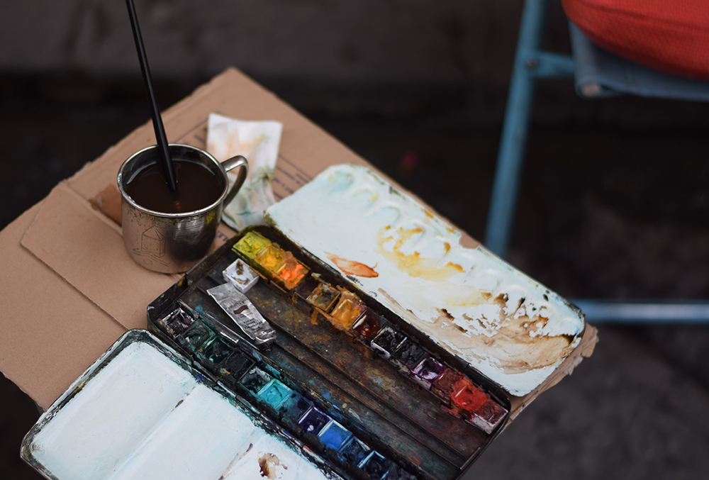 A photo of an artist's paints in Florence, Italy