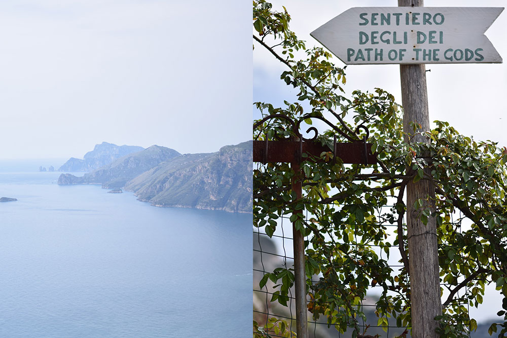 "Photo of mountains and the Mediterranean Sea taken from a hiking trail above the Amalfi Coast and a sign that says ""Sentiero Degli Dei - Path of the Gods"""