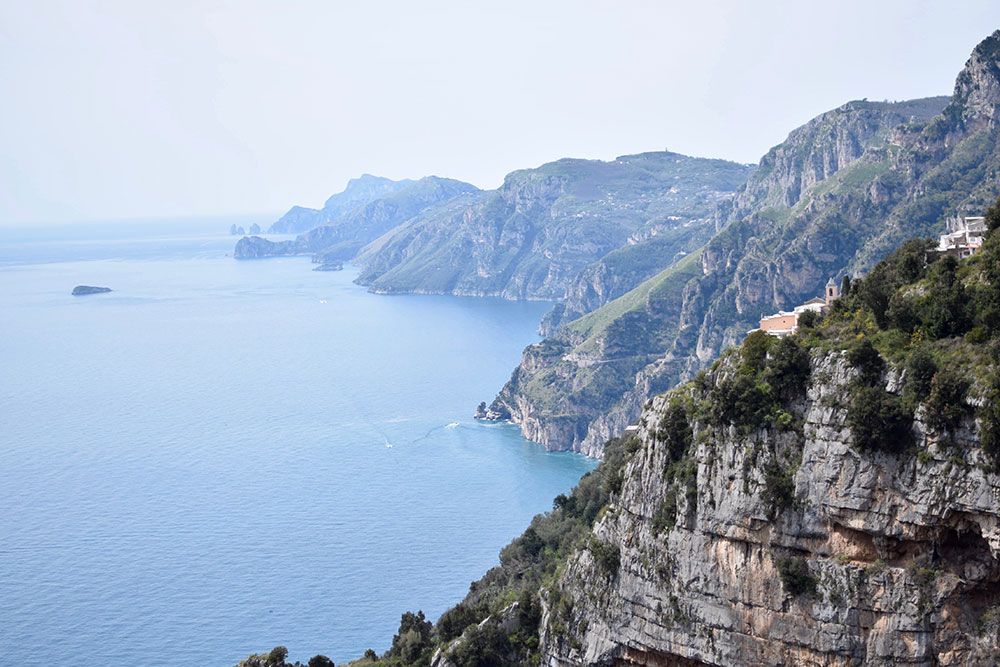 Photo of the Amalfi Coast of Italy from a hiking trail called The Path of the Gods.