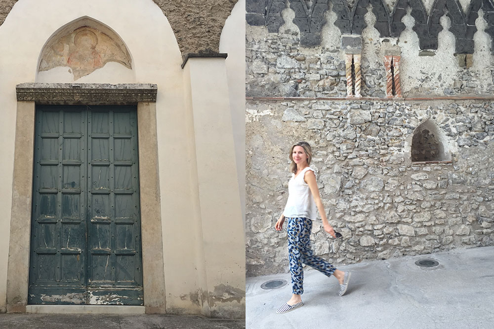 Photo of a a door and a woman walking in Villa Rufulo in Ravello, Italy.