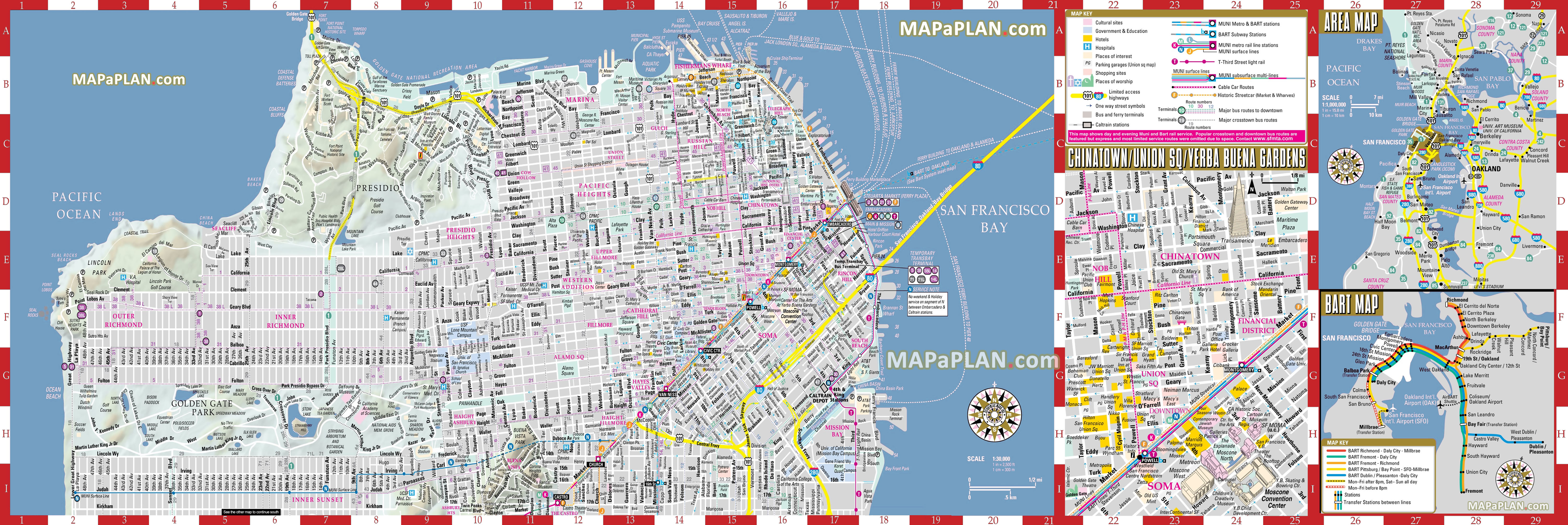San Francisco Maps Top Tourist Attractions Free Printable City Street Map