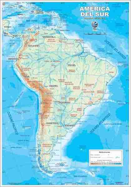 Mapa de América del Sur Físico