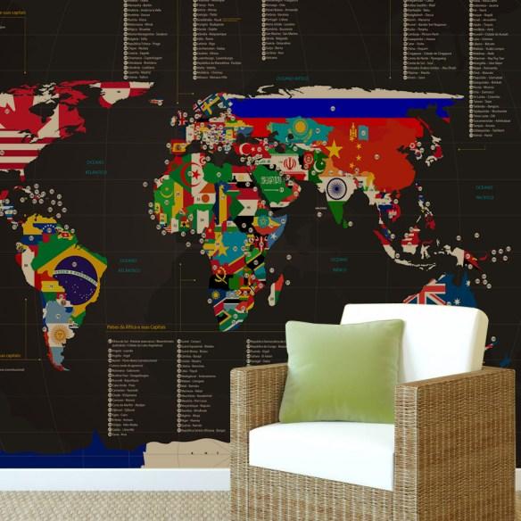 mapa mundi bandeiras aplicacão