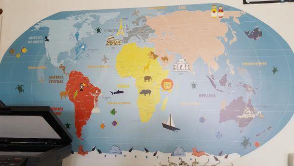 Mapa Mundi Infantil 18-B3 aplicado na parede