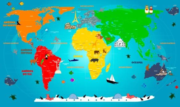 Papel de Parede Mapa Mundi Infantil