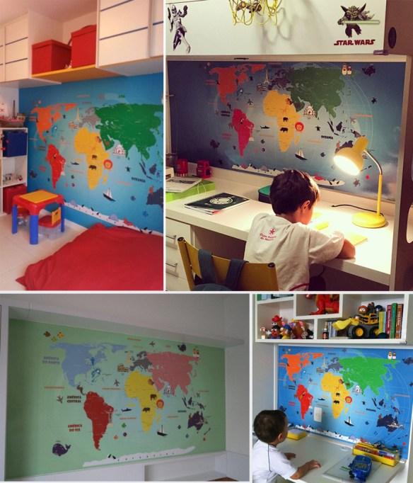 papel de parede mapa-mundi infantil diversos modelos