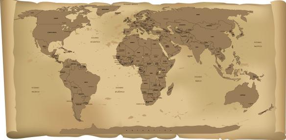 Adesivo Parede Mapa Mundi Antigo com Nome dos Paises e Capitais