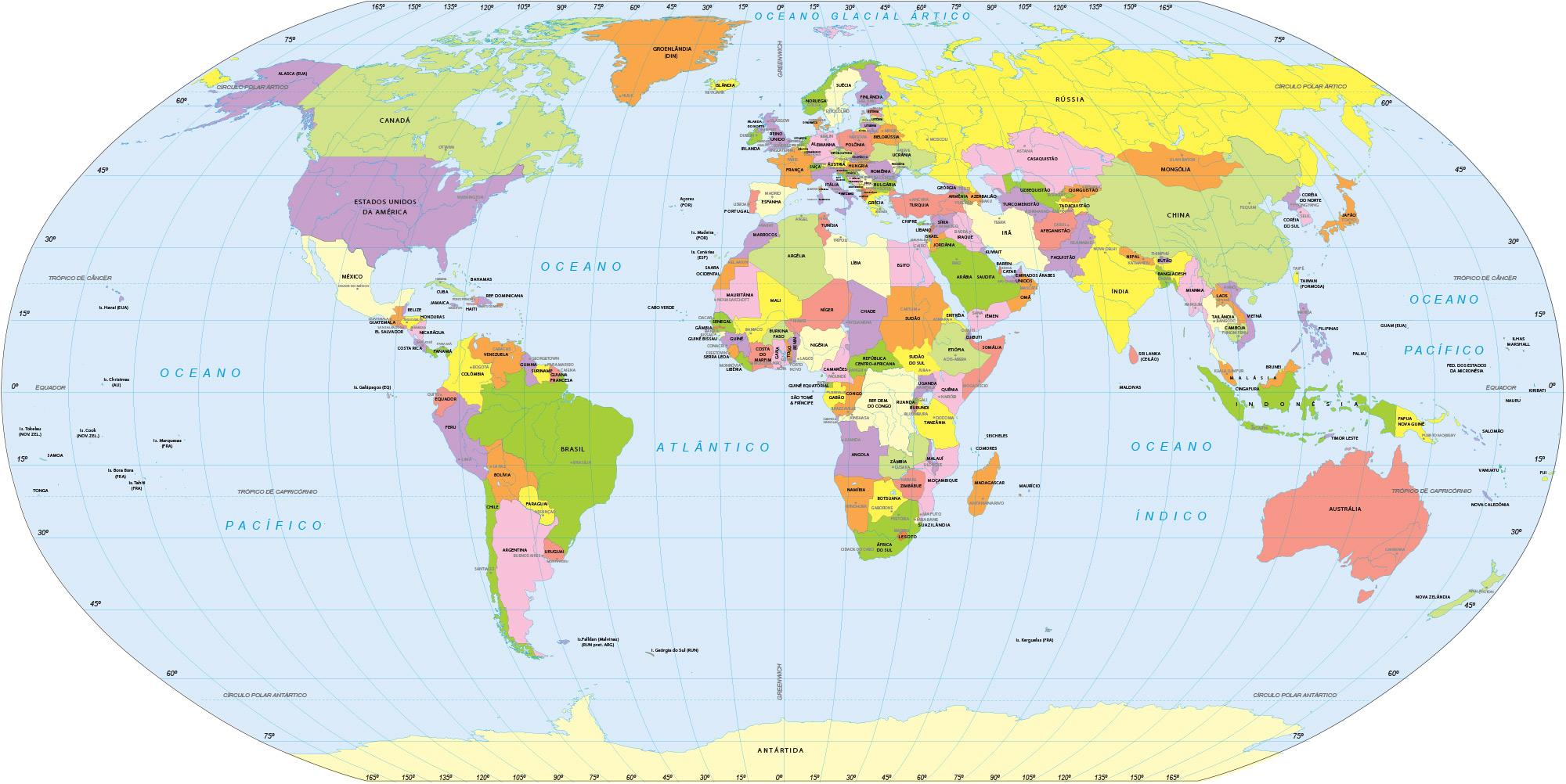 Mapa mundi adesivo grande formato em papel de parede - Papel pintado mapamundi ...