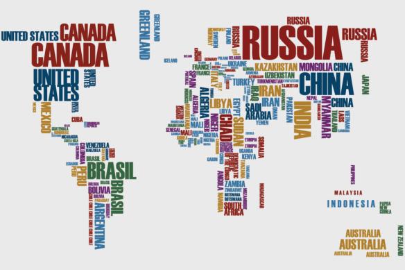 Mapa Mundi letras colorido
