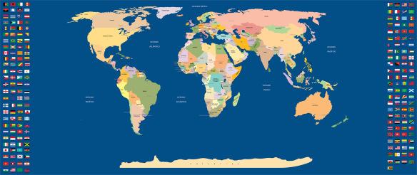 mapa mundi com paises e capitais e bandeiras