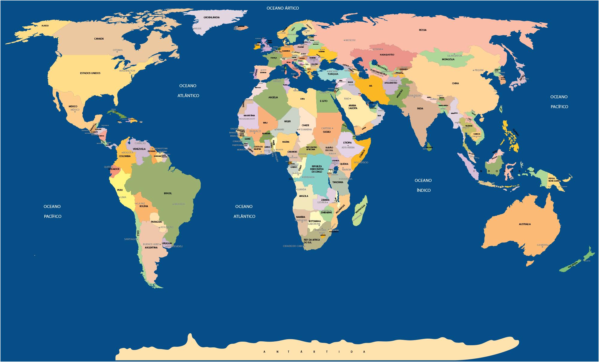 mapa mundi paises e capitais Mapa Mundi nome de todos os paises e capitais mapa mundi paises e capitais