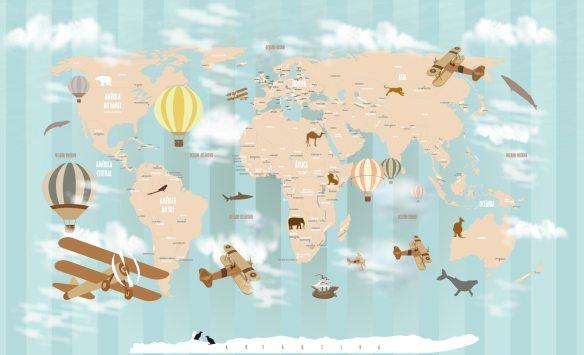 Papel de Parede Mapa Mundi 18-D1 fundo listrado