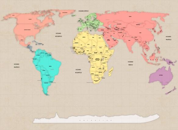 papel de parede mapa mundi vintage tons pasteis ou Candy Colors